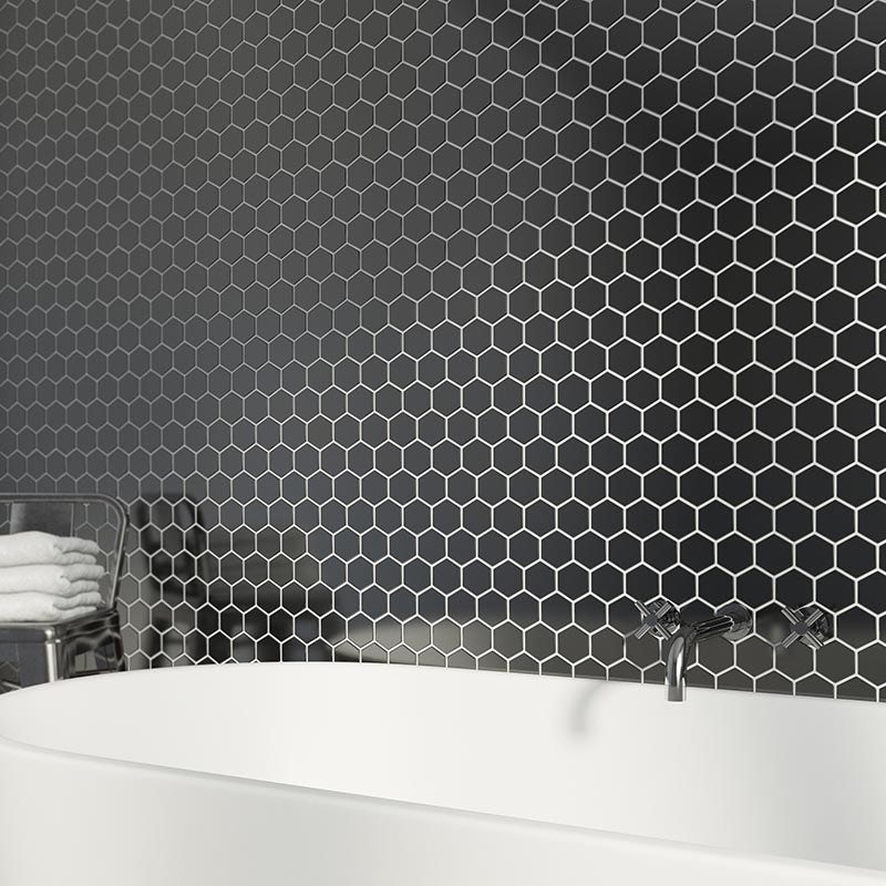 Mosaic hex black tile 300mm x 300mm