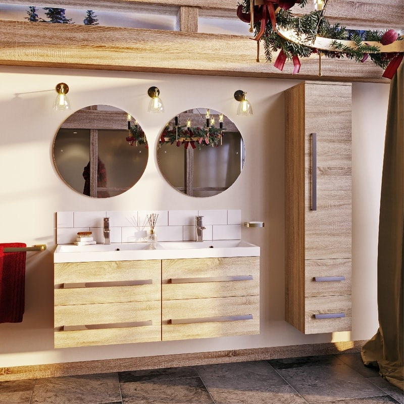 Orchard Wye oak wall hung double basin unit