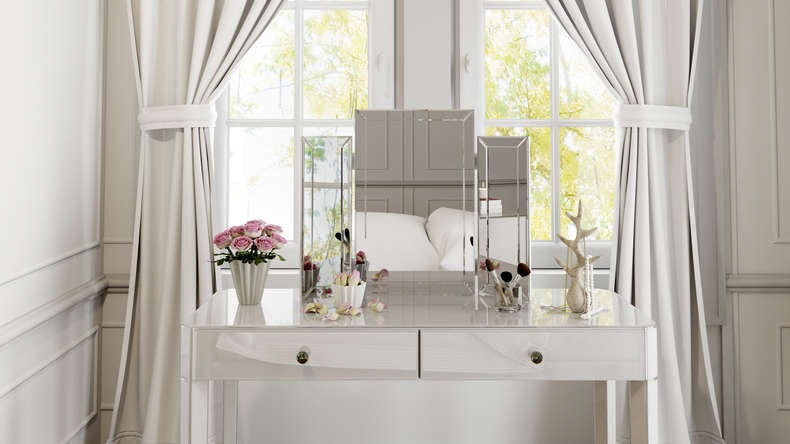 Paris White Glass trifold mirror