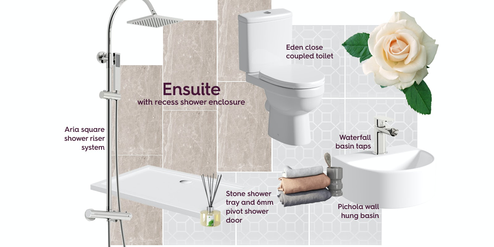 Ensuite with recess shower enclosure mood board