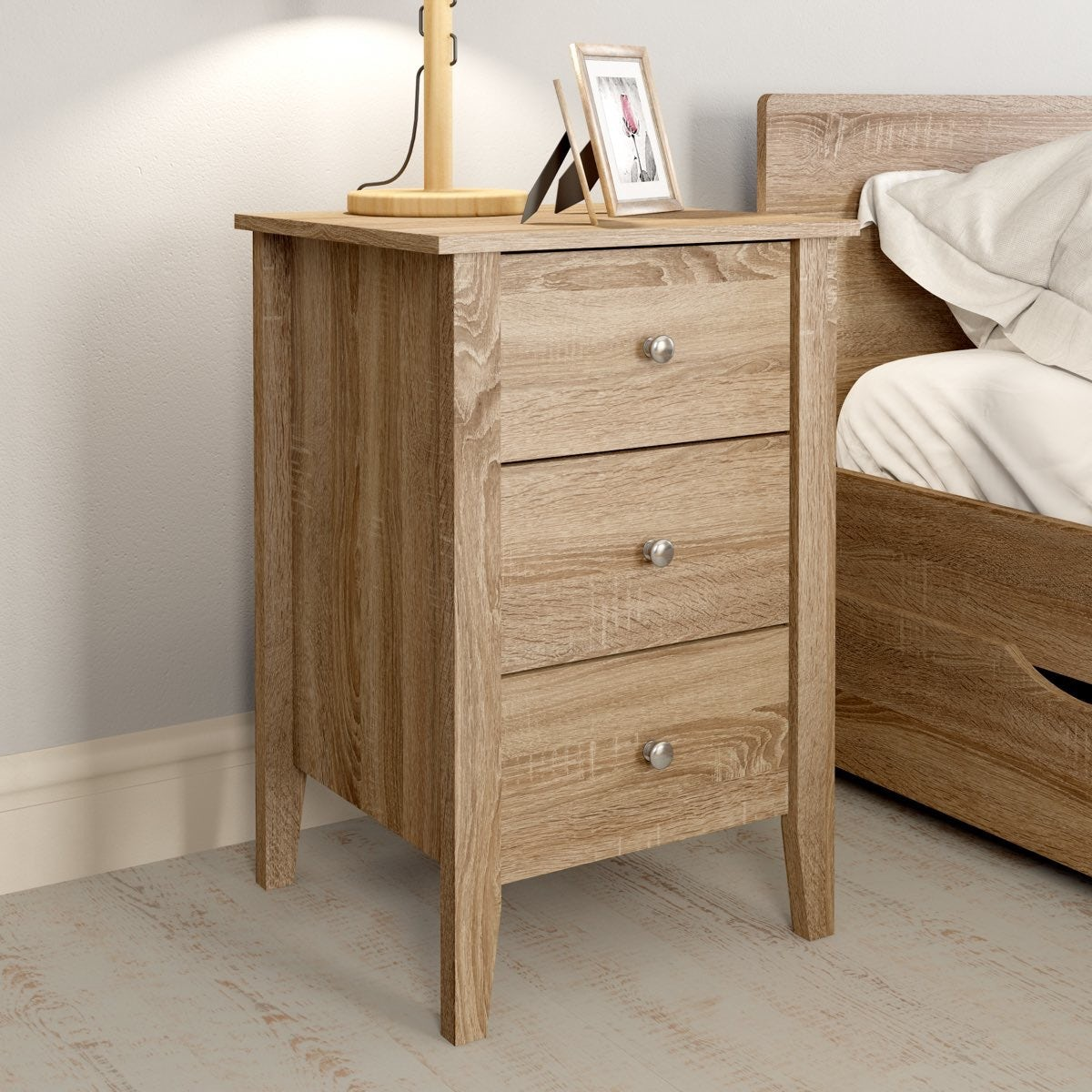 Oak 3 drawer bedside