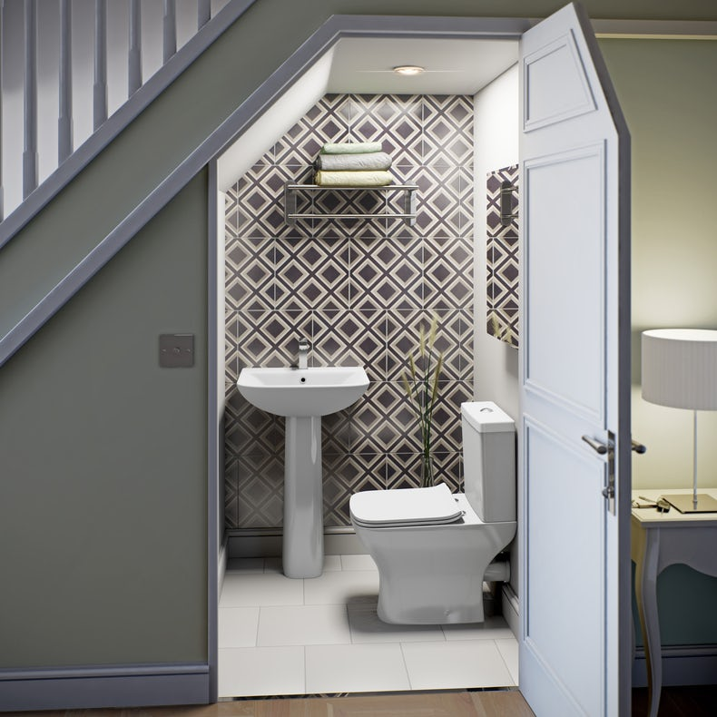 Compact square bathroom suite