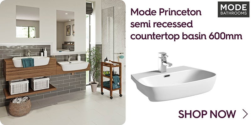 Mode Princeton semi recessed countertop basin 600mm