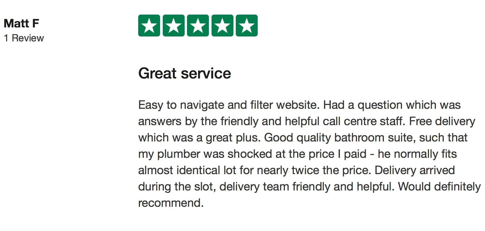 Matt F Trustpilot review