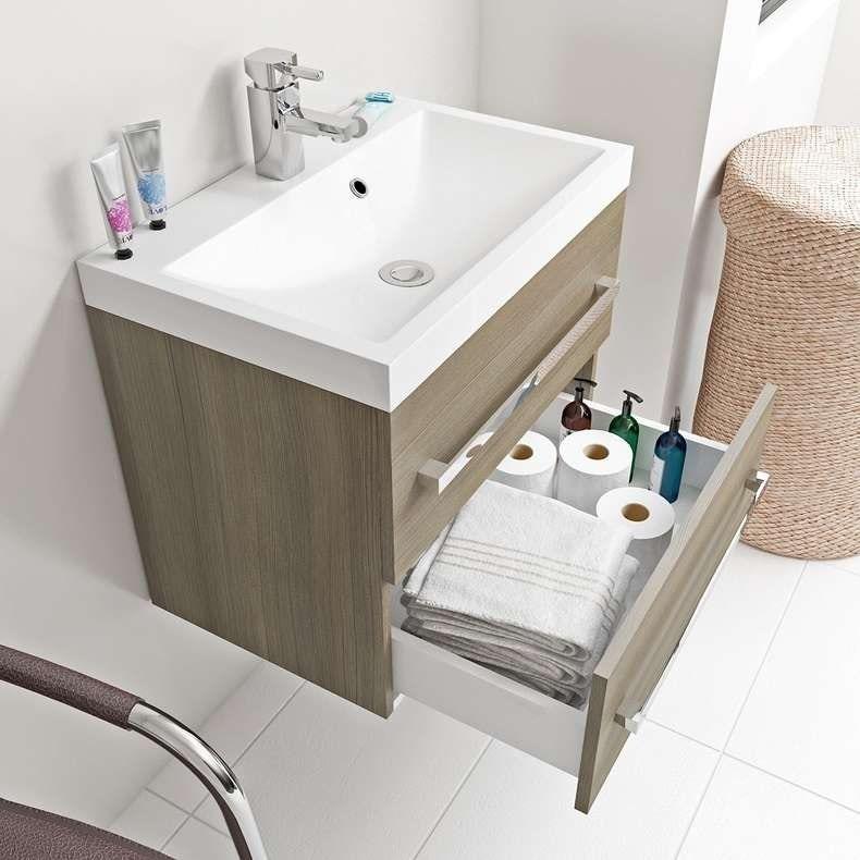 Drift Walnut wall hung vanity unit with basin 600mm