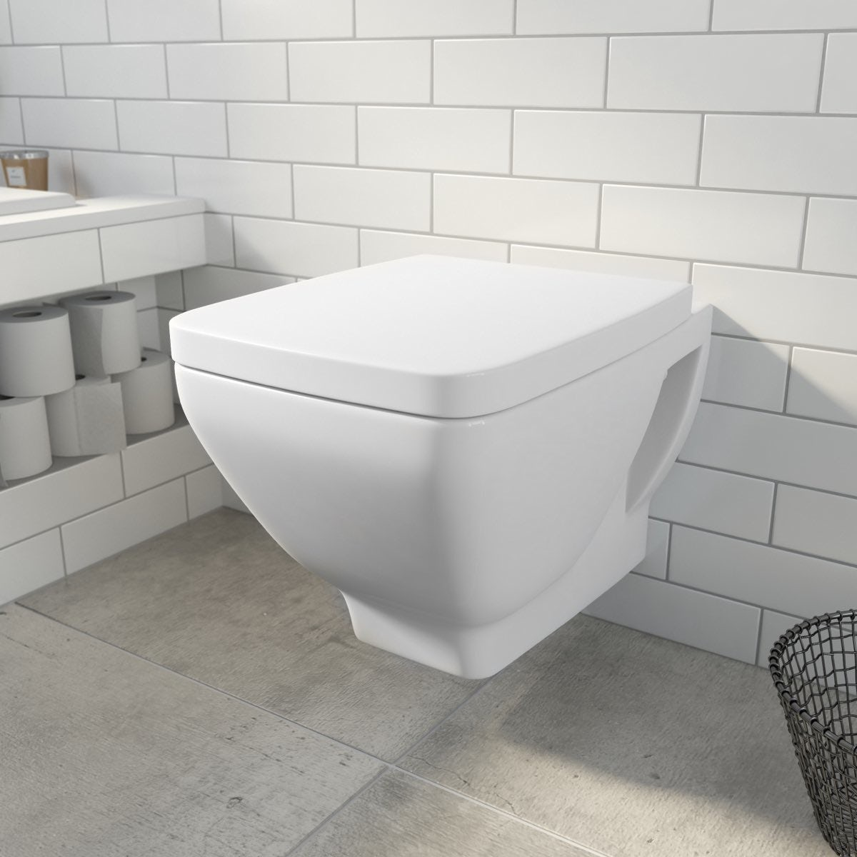 Verso wall hung toilet with soft close seat