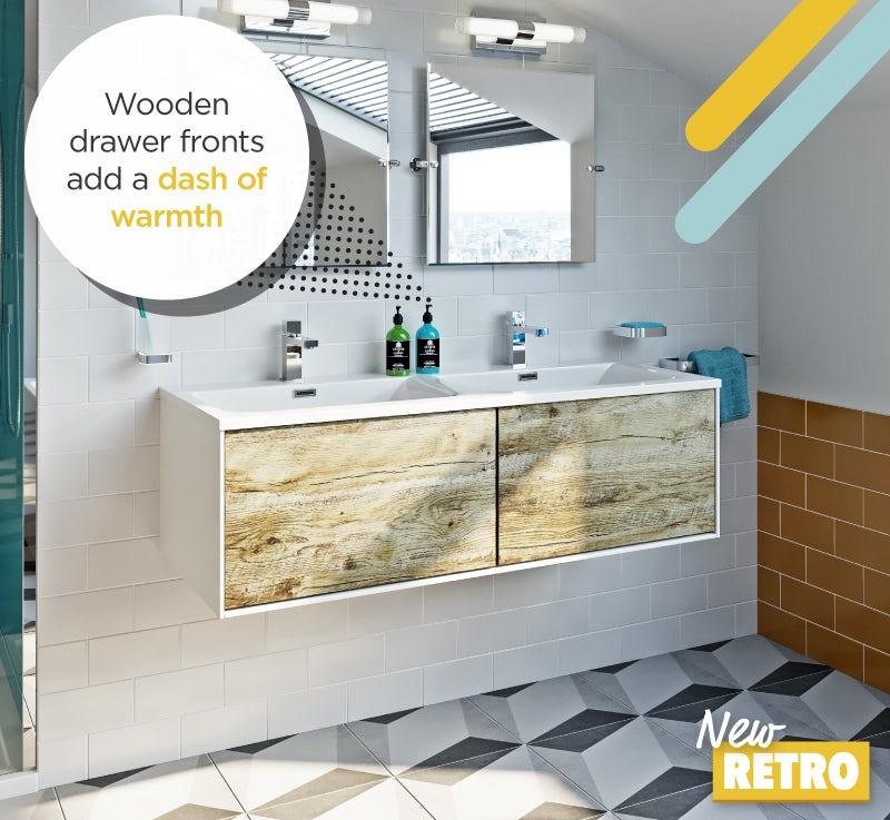 Wood fronted vanity unit