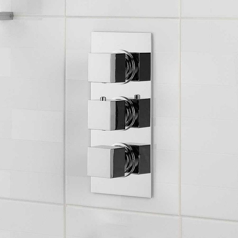 Mode Cubik square triple thermostatic shower valve