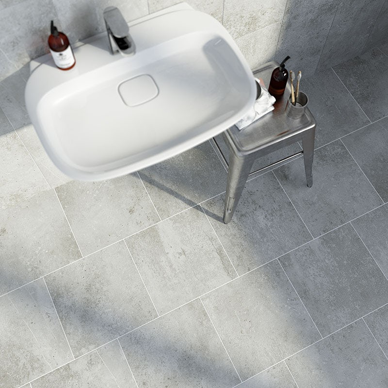 Metropolis mid grey matt tile 331mm x 331mm
