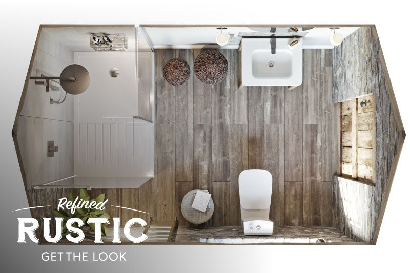 Refined Rustic small bathroom with shower overhead