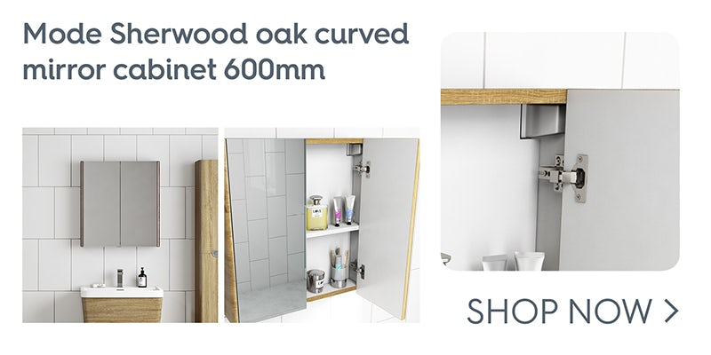 Mode Sherwood oak curved mirror cabinet 600mm