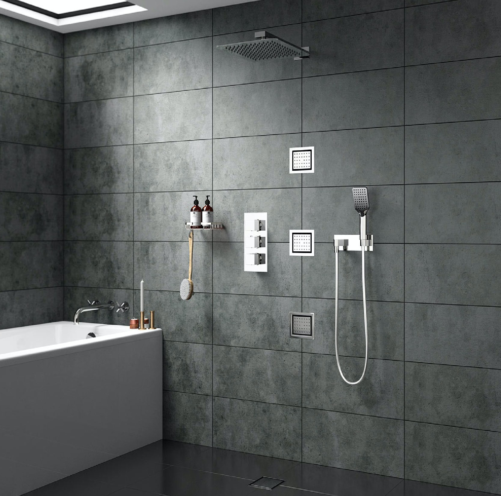 Mode Spa complete square thermostatic triple shower valve with diverter and wall shower set
