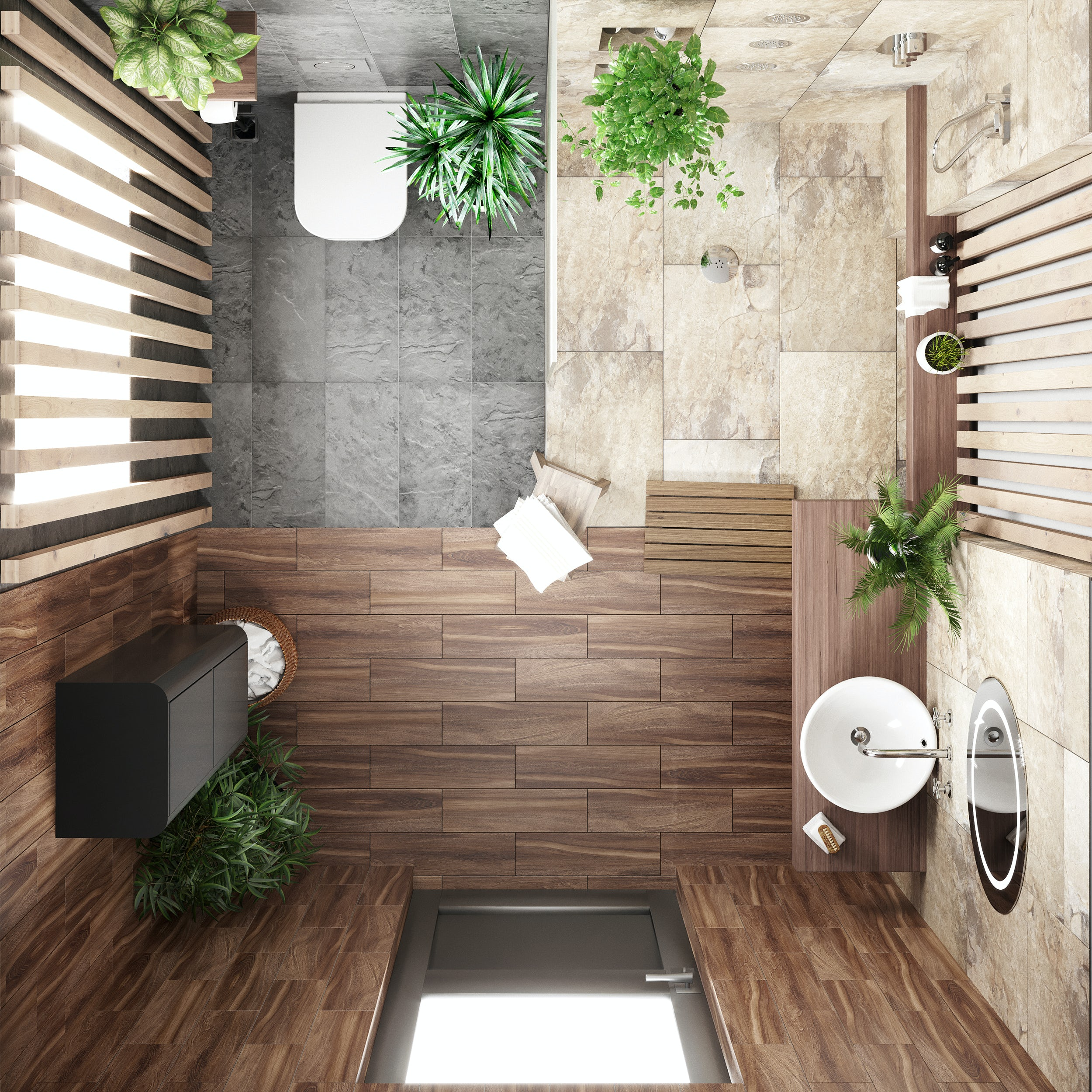 Wet room in a small bathroom