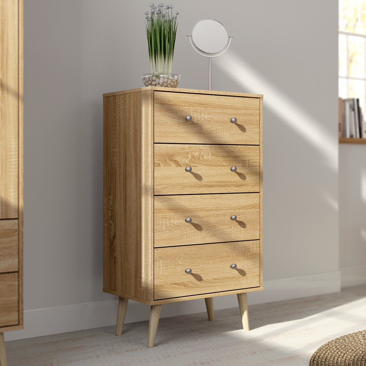 Helsinki oak 4 drawer chest