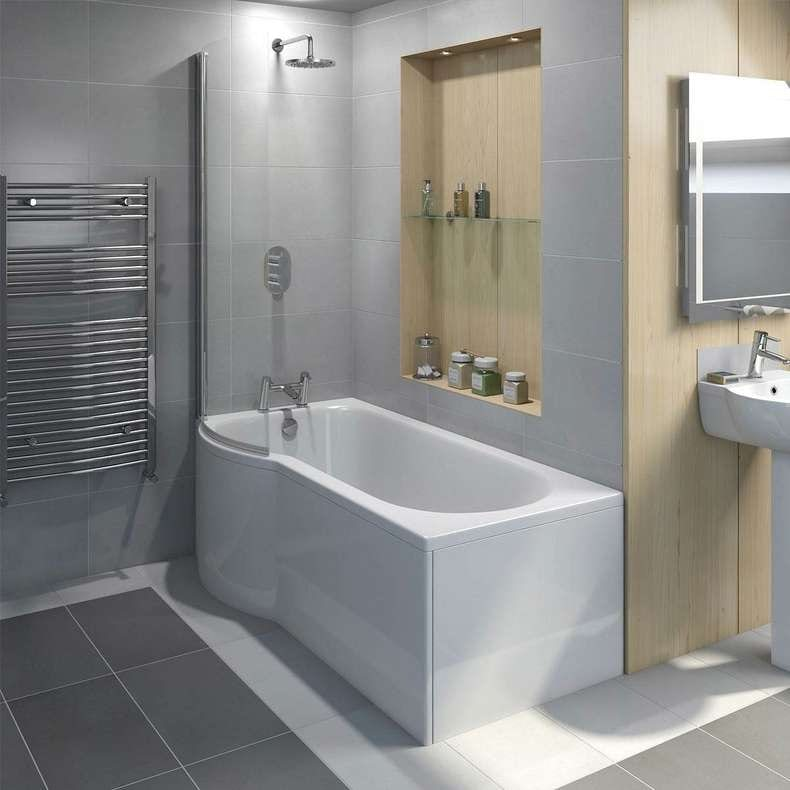 Evesham left handed P shaped shower bath