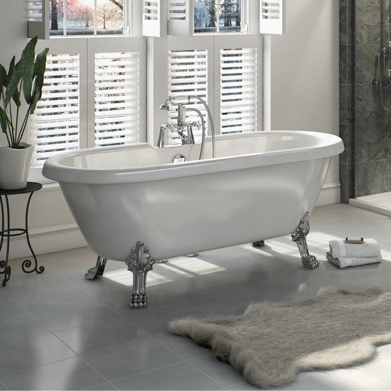 The Bath Co. Dulwich roll top freestanding bath with chrome claw feet