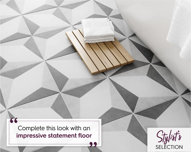 British Ceramic Tile Geometric grey feature floor tile