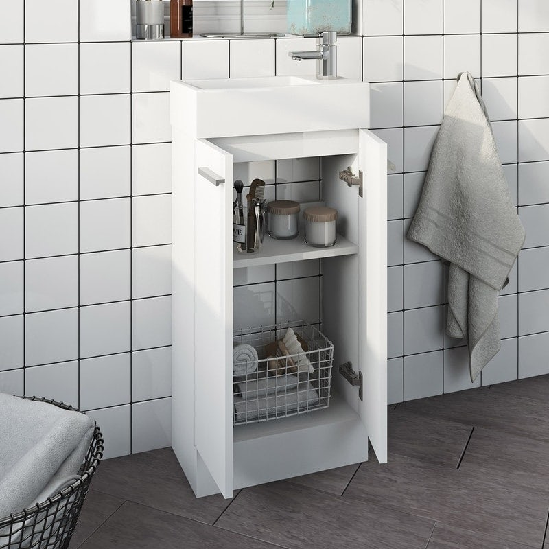 Clarity Compact white cloakroom unit