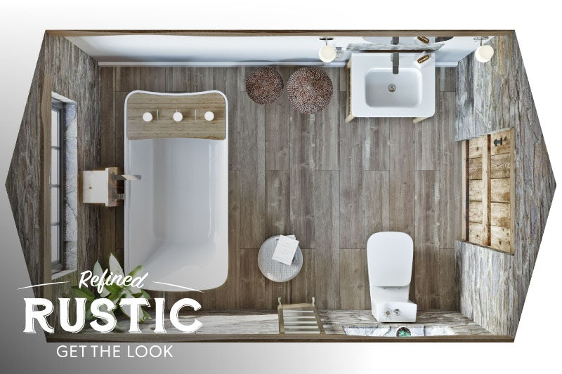 Refined Rustic small bathroom with bath overhead