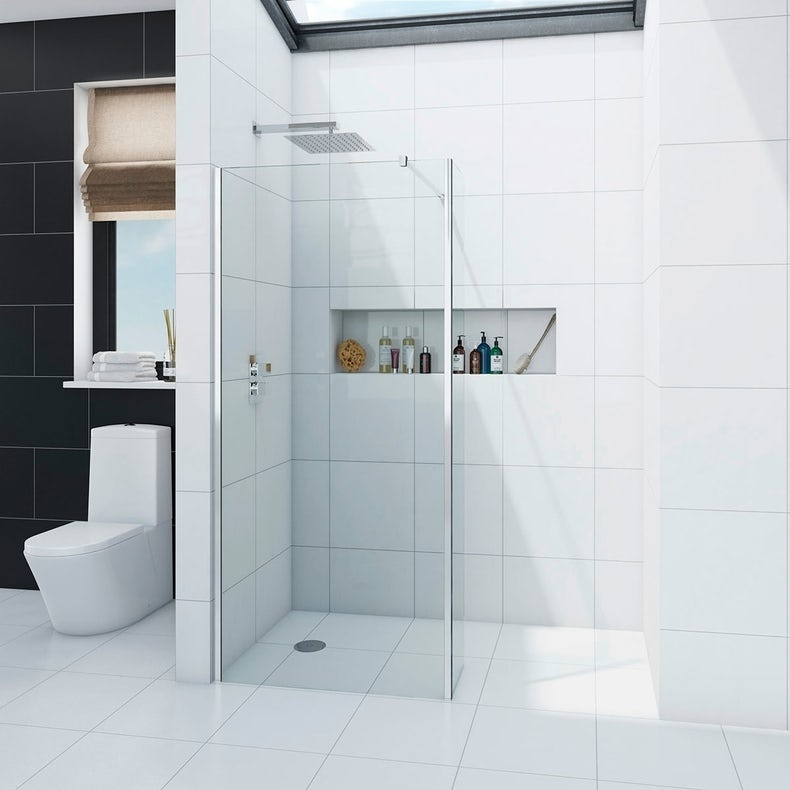 Wet room glass panel with return panel