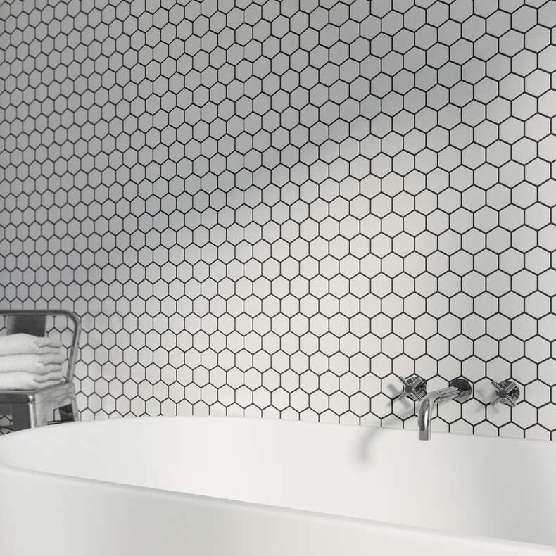 Mosaic hex white tile
