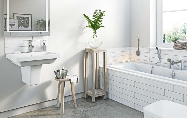 Wooden bathroom stool