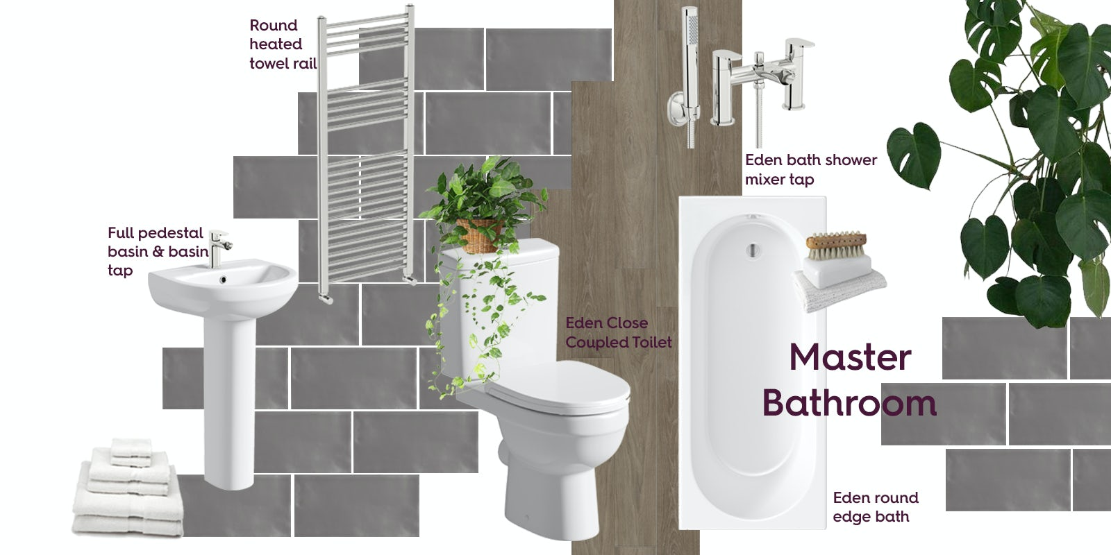 Master bathroom with a bath mood board