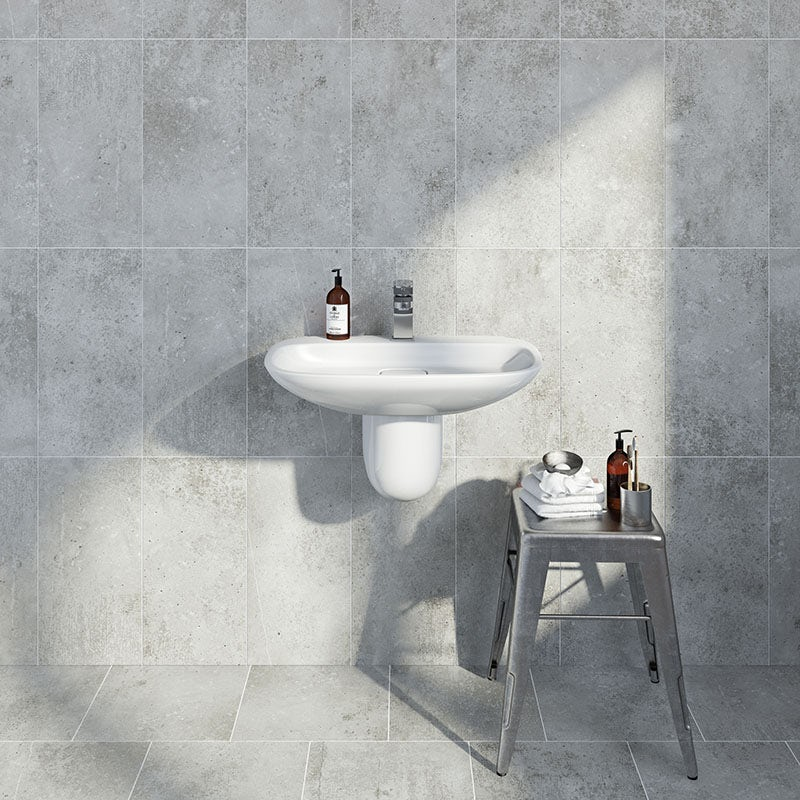 Metropolis mid grey matt tile 248mm x 498mm