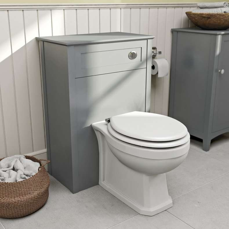 Winchester back to wall toilet with Camberley grey back to wall toilet unit