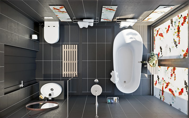 Overhead bathroom plan