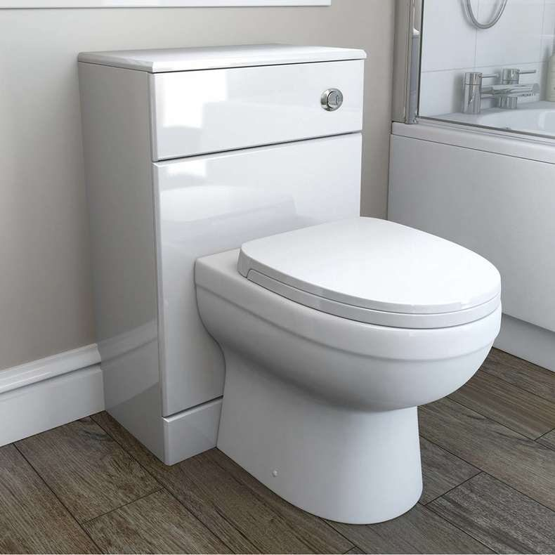 Energy back to wall toilet with soft close seat