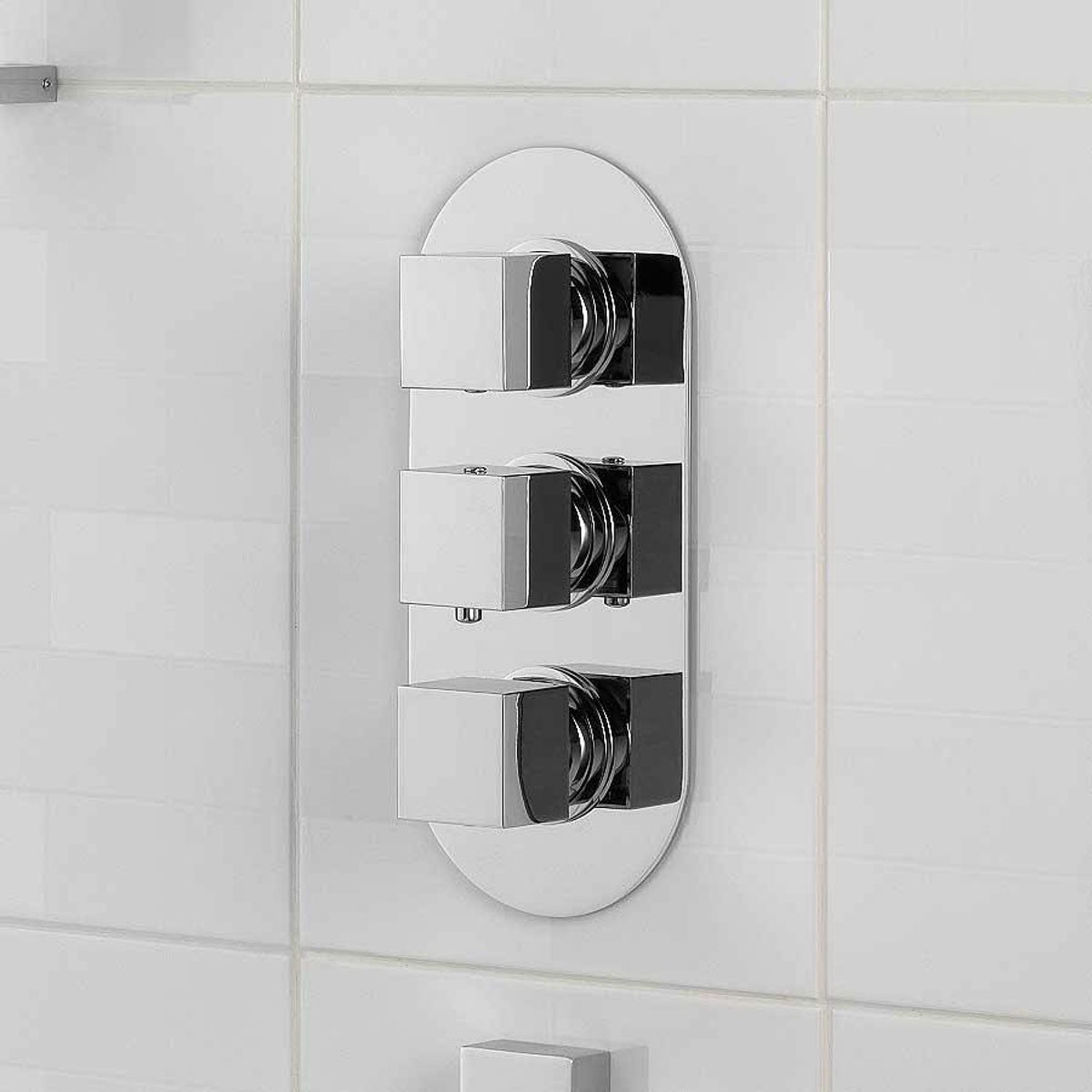 cubik oval triple shower valve with diverter