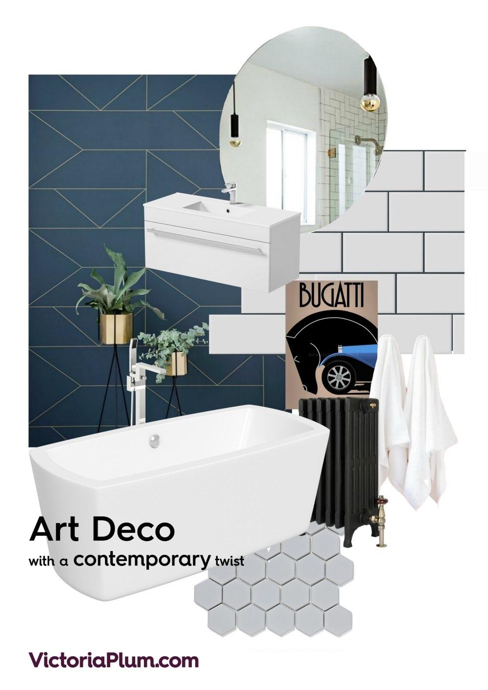 Contemporary Art Deco Bathroom Mood Board