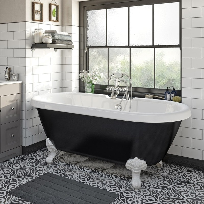 The Bath Co. Dulwich black roll top bath with white ball and claw feet