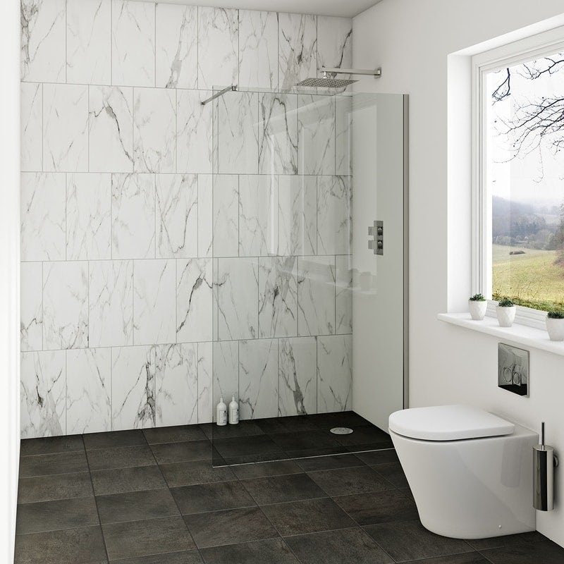 Orchard 8mm wet room glass panel with return panel