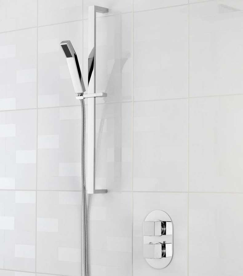 Cubik oval twin thermostatic shower valve