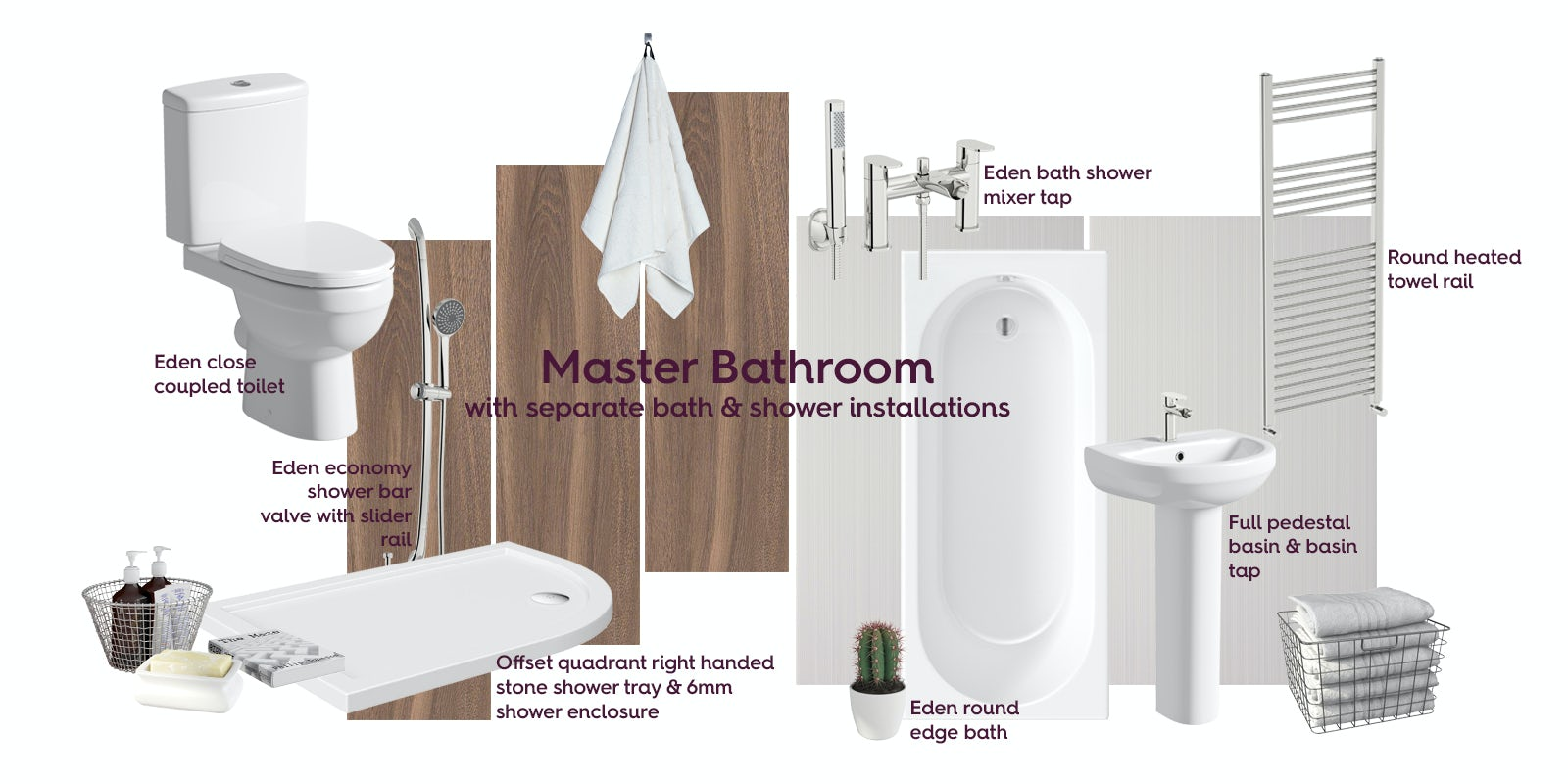 Master bathroom with separate bath & shower mood board