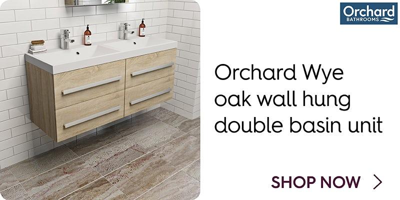 Orchard Wye oak wall hung double basin unit