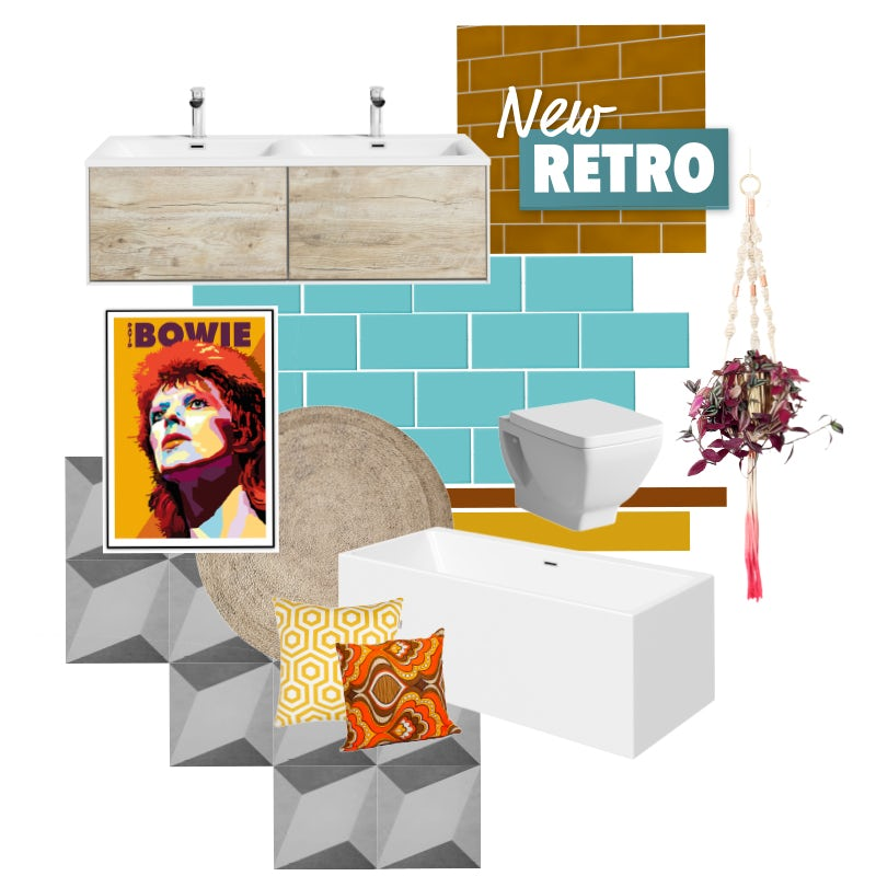 New Retro bathroom mood board