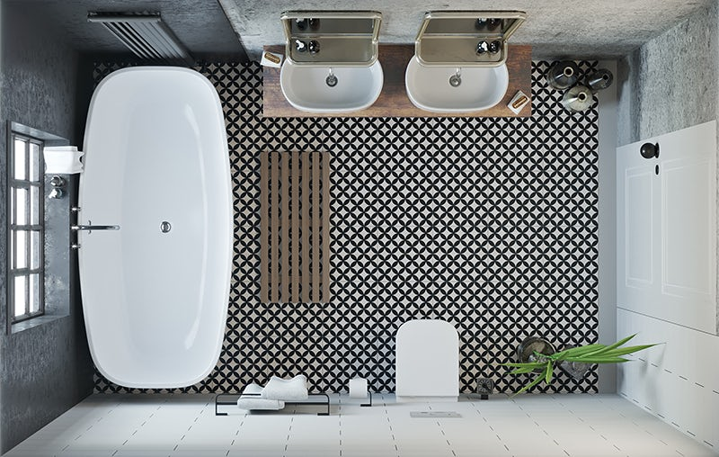 Soft Industrial average-sized bathroom overhead