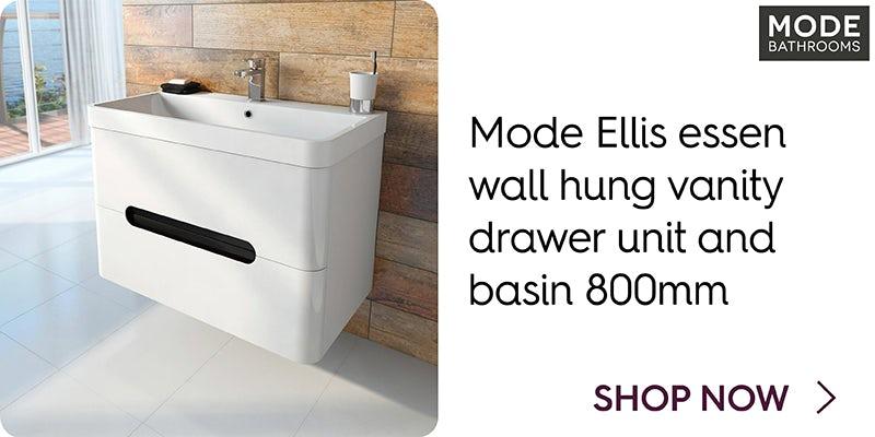 Mode Ellis essen wall hung vanity drawer unit and basin 800mm