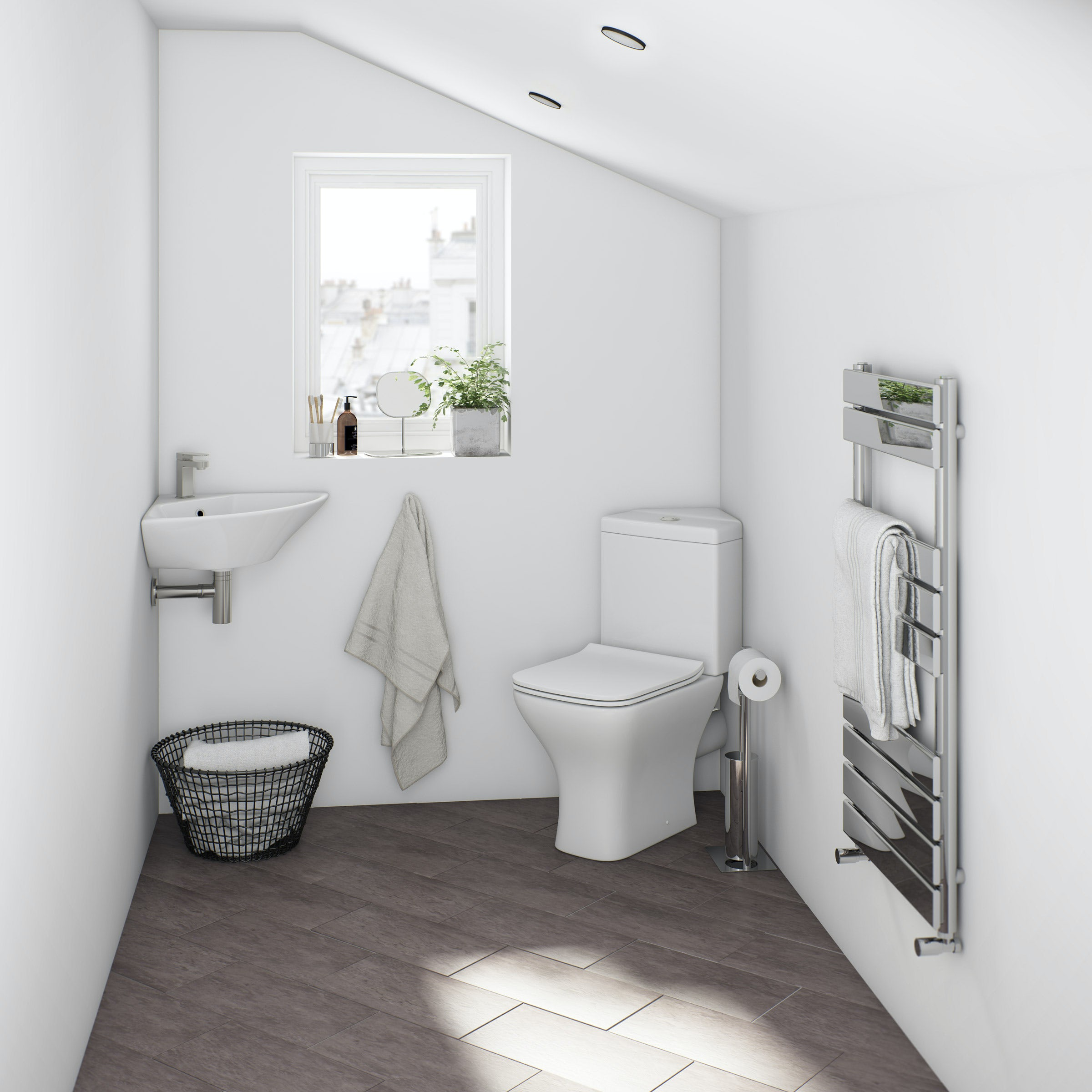 Orchard Derwent square compact corner bathroom suite in loft conversion