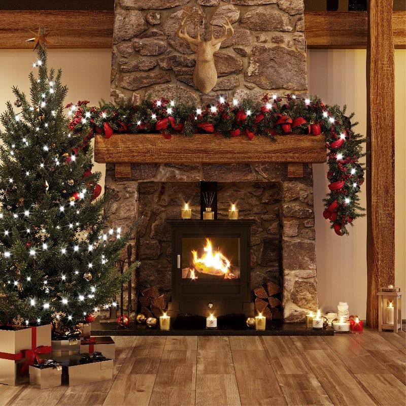 The Lodge bathroom fireplace