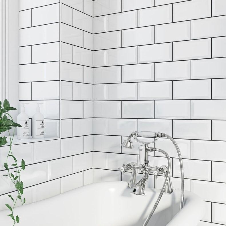 Metro white bevel gloss tile 100mm x 200mm