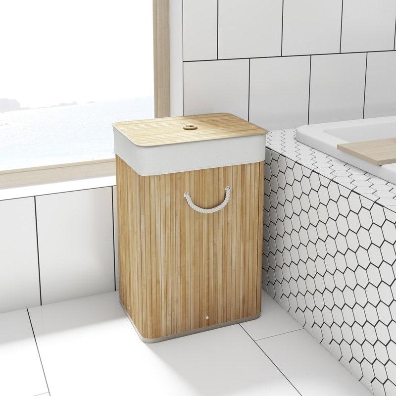 Orchard Natural bamboo rectangular laundry basket
