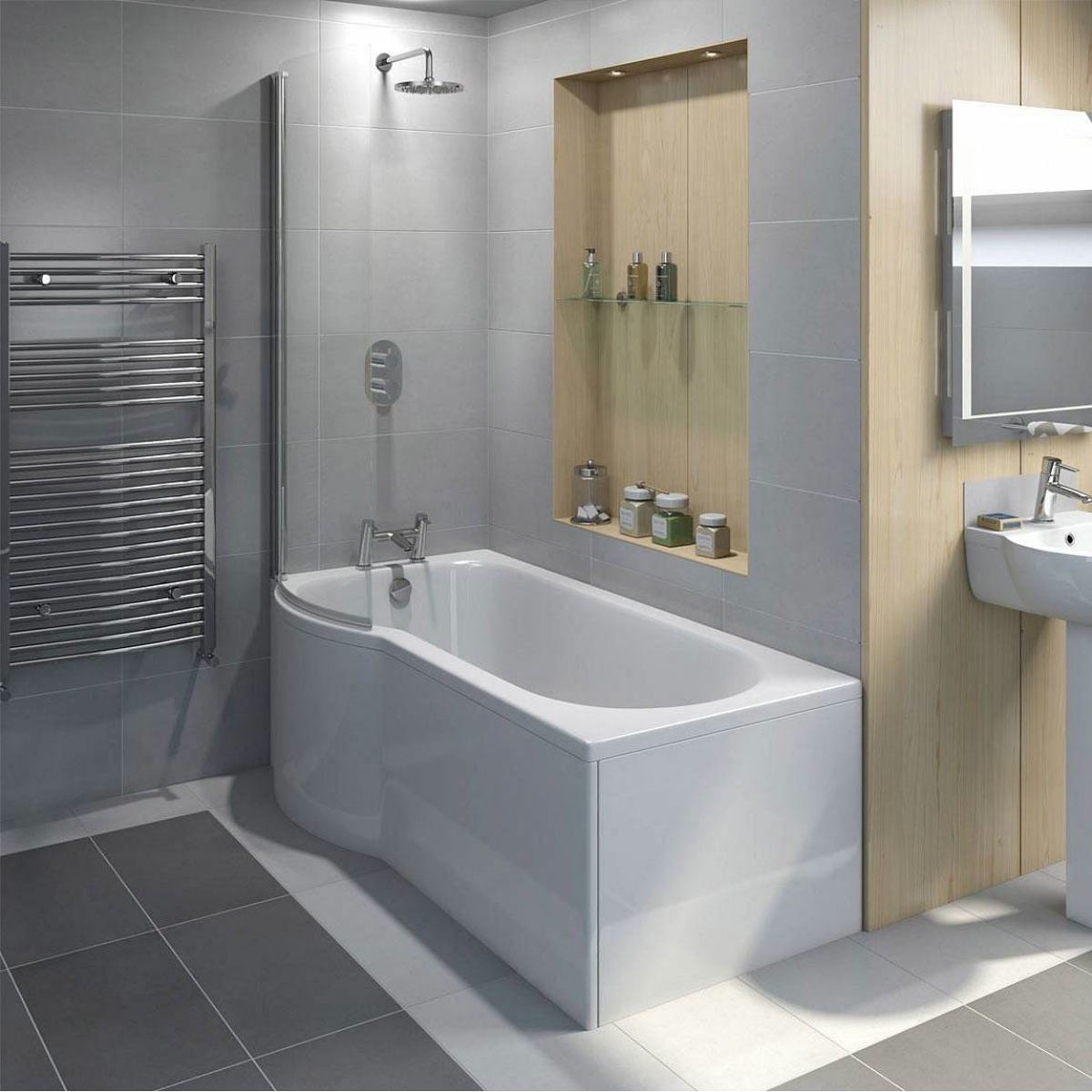 P shaped shower bath