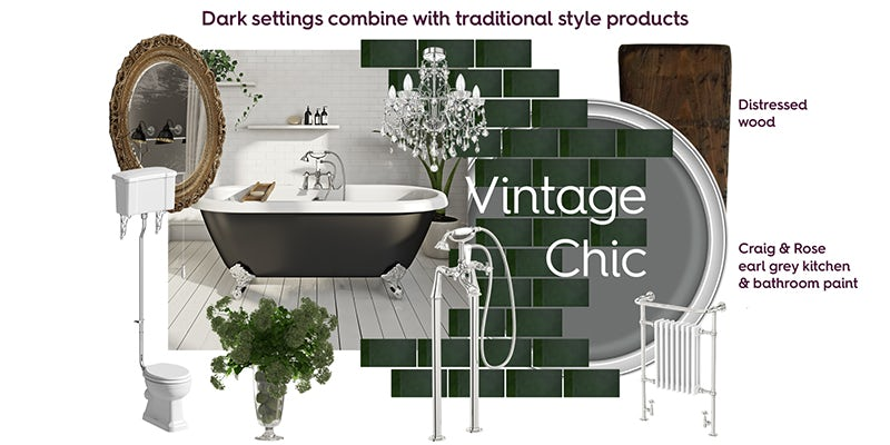 Vintage Chic bathroom mood board