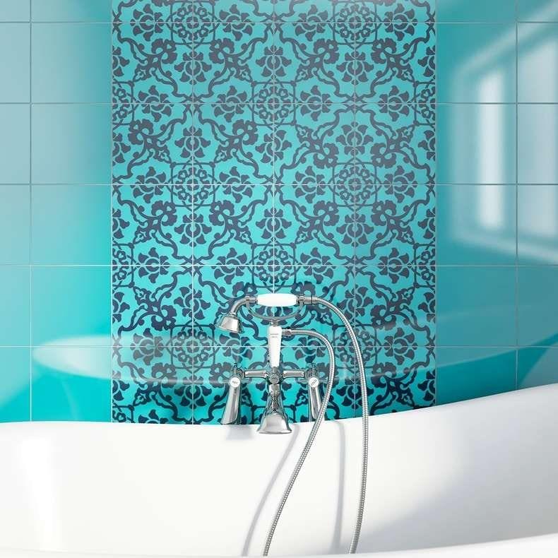 V&A santiago décor turquoise gloss tile 198mm x 198mm