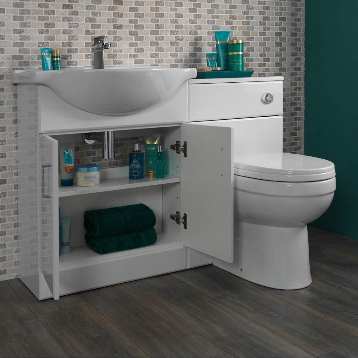 Sienna white combination unit with Energy back to wall toilet 1040mm
