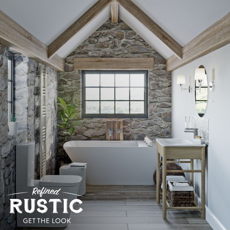 Refined Rustic small bathroom with bath